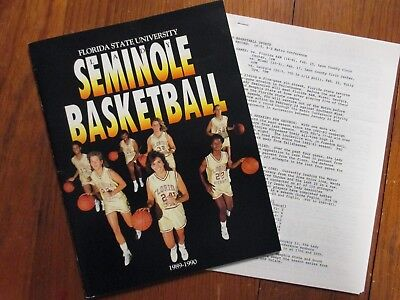 1989-90 Florida St. Women's Basketball Guide(13 Signed(w/WANDA  BURNS/ROBIN CORN
