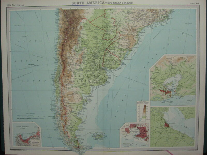 1920 LARGE MAP ~ SOUTH AMERICA SOUTHERN SECTION URUGUAY MONTEVIDEO RIO
