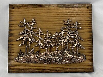 Vintage Rustic Wood & Raised Copper Forest Trees Pond Wall Decor Made in Canada