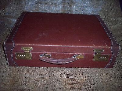 BROWN HARD COVER LEATHER BRIEFCASE FREE S/H