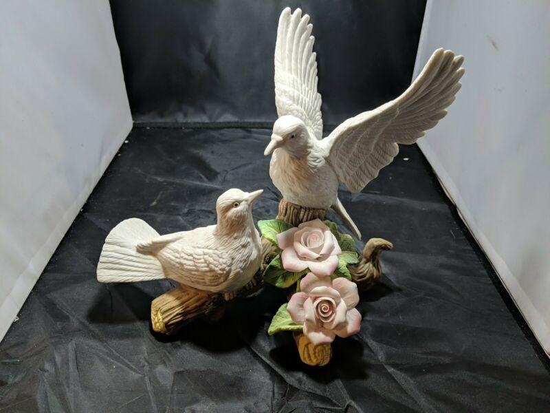 2 Doves On A Branch Ceramic Figurine