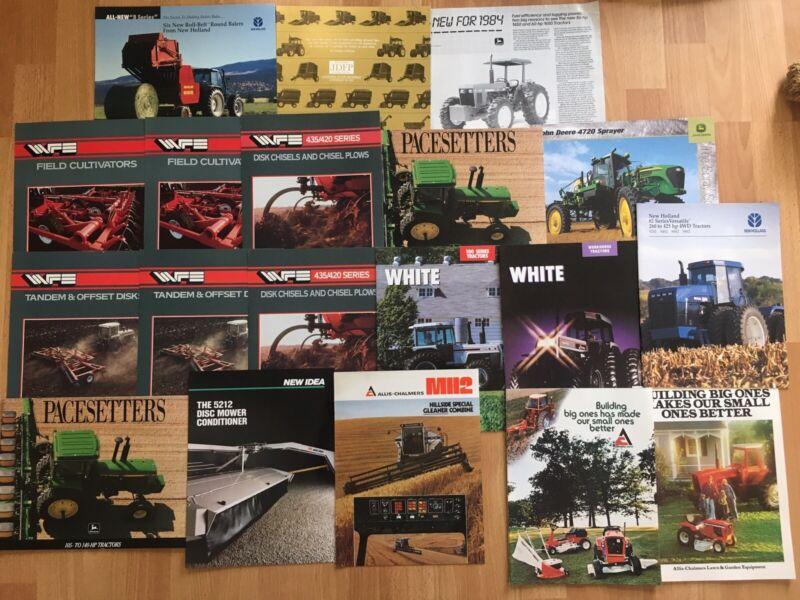 Group 19 vintage Allis JD White Holland tractor combine Implement Brochures VG
