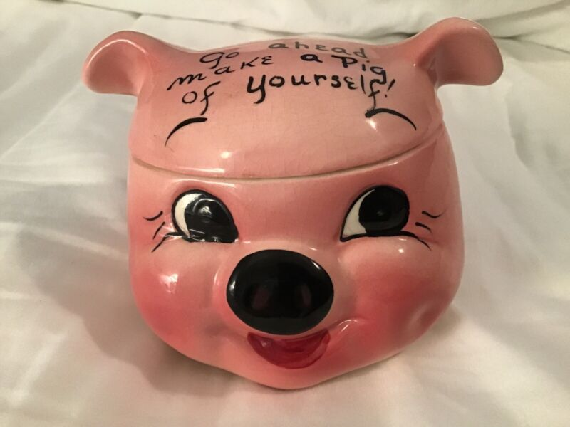 VINTAGE (1950s) DEFOREST OF CALIFORNIA PIG CANDY/COOKIE JAR. EXCELLENT CONDITION