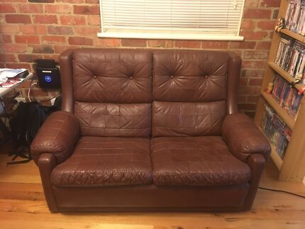 Genuine Moran Leather sofa and armchair set