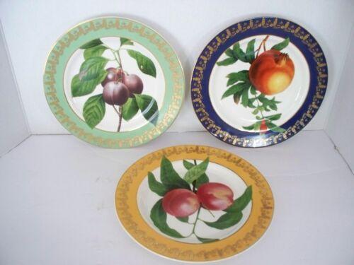 "3 pc Royal Fruit Plate American Atelier 8.5"" Gold Pineapple Trim #5216"