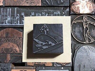 Antique Vtg Wood Metal Whale Fish Letterpress Print Type Cut Ornament Block