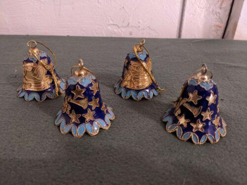 Vintage Cloisonne Cobalt Blue Enamel Bell Ornament Set of 4