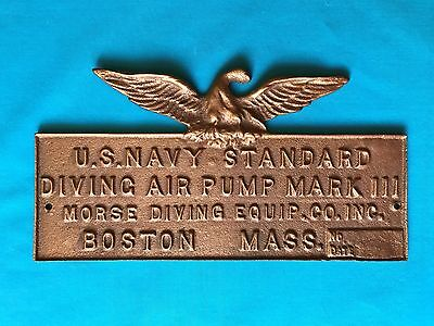 US NAVY Scuba Helmet Dive Air Pump Brass Plaque Eagle MORSE Diving Boston Mass
