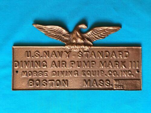 Vintage Brass Plaque w/ Eagle Air Pump Diving Helmet US NAVY MORSE Diver For Box