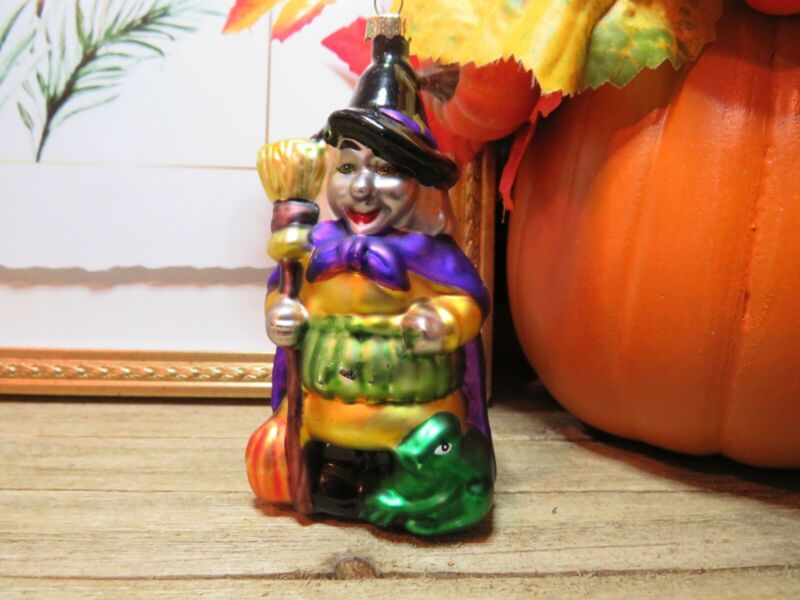 Vintage Glass Witch Ornament