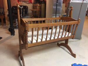 Solid wood bassinet and highchair