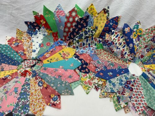 """10 Vintage Dresden Plate Feedsack Fabric 14"""" Quilt Blocks Pointed Tips"""