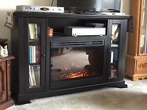 Electric fire place.  Book shelf.  TV stand.
