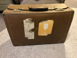 Vintage large briefcase brown leather