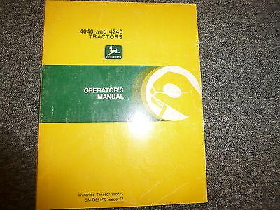 John Deere 4040 4240 Row Crop Tractor Owner Owners Operator Manual Omr65460