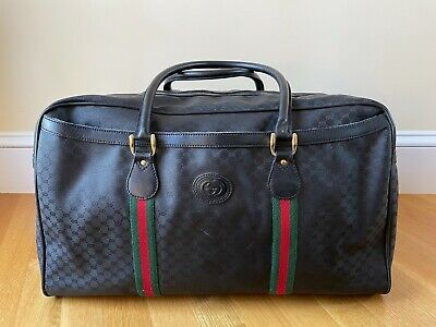 Vintage Gucci Duffel Bag 80s Classic Black