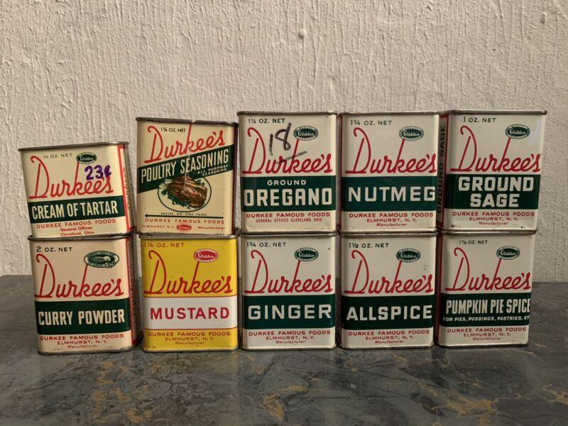 Durkees Vintage Spice Tin Lot 10 Pieces