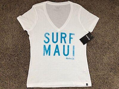 25   Brand New Hurley Nike Womens T Shirt Tee Surf Maui Hawaii Aloha White Tee