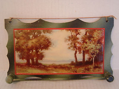 VINTAGE HAND MADE WOODEN TIE RACK BAR WITH LANDSCAPE TREES PICTURE UNDER GLASS