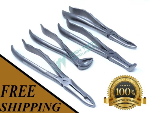 German Stainless Steel Set of 4 Root Tip Dental Extraction Forceps Instruments