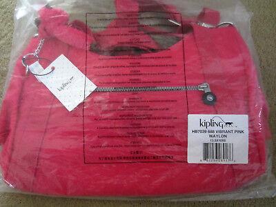 Kipling HB7039 Waylon CrossBody Shoulder Bag Vibrant Pink w/ Furry Monkey $114