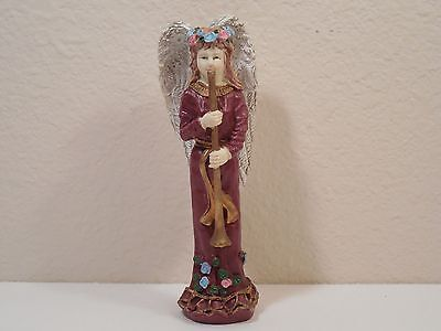 Old Resin Figurine Of An Angel With A Flower Halo Playing A Long Horn ~ 6