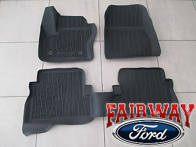 13 thru 18 Escape OEM Ford Tray Style Molded Black Rubber Floor Mat Set 4-pc NEW