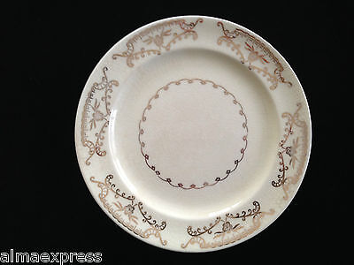 Paden City Pottery PCP212 SALAD BREAD PLATE Gold Floral, Scrolls, Squiggly Verge