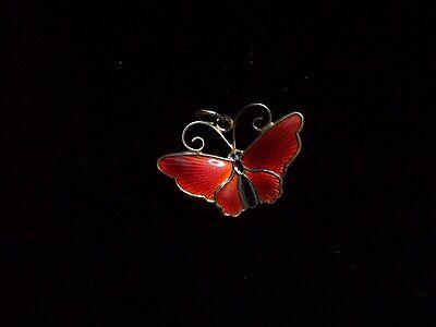 Vintage David-Andersen Sterling Red Enamel Butterfly Charm Pendant Sterling Silver Enamel Butterfly Pendant
