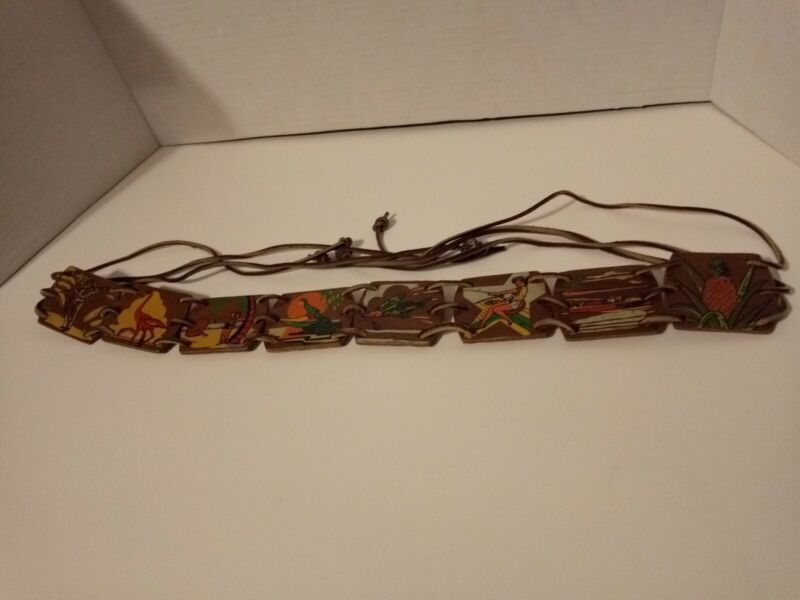 Folk Art Belt Hand Painted/Made Wood w/ Leather Tropical Scenes 1940s Hawaii FL