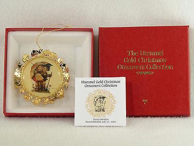 Danbury Mint / Hummel Gold Christmas Ornament SUNNY WEATHER - Box (1)