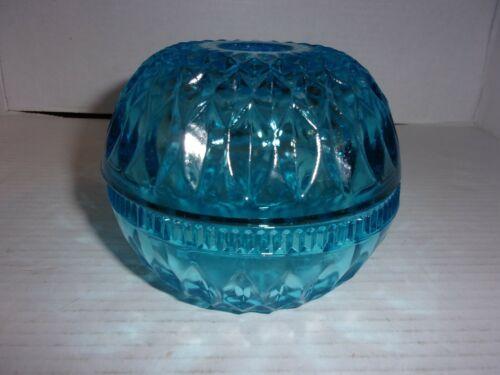 Vintage Indiana Glass Mt. Vernon Turquoise Blue Fairy Lamp Light