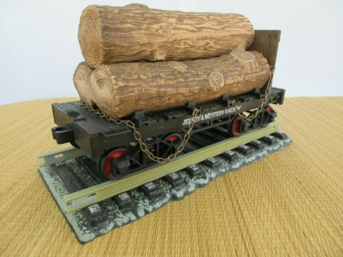 """Jim Beam Decanter Train Log Car """"Empty"""", With Display Track, 13"""" Long"""