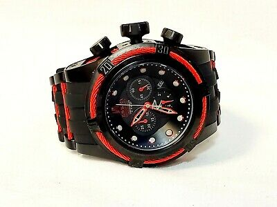 NEW INVICTA 25230 JT Bolt Zeus 53mm Ltd Ed Quartz CHRONO Strap Watch RED BLACK