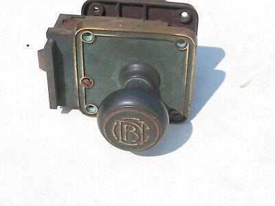 Vintage Used Small Brass Doorknob Lock Set for Parts Repair Repurpose