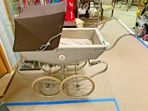 Vintage Brown Silver Cross Pram Baby Carriage