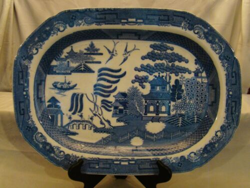 Rare Finest Quality Early Signed Herculaneum Blue Willow Meat Platter 1820