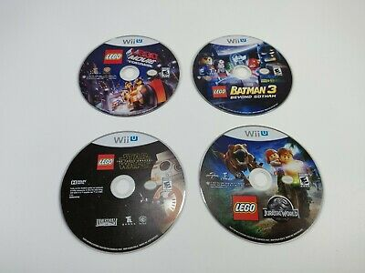 Wii U Lego Game Lot of 4 Discs Only Jurassic Park Star Wars Batman Tested