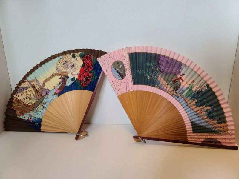 2 Vintage Japanese Paper Fans occupied japan Lot 7
