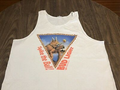 Vintage 1993 Spike The Ball Dinosaur Bud Light Large/XL White Tank Top 90s Beer
