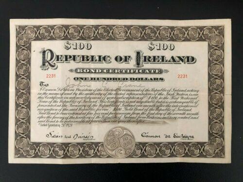 RARE Republic of Ireland Bond#2231 $100 1920 issued VF