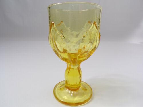 Vintage Heavy Amber Goblet Pedestal Large Base Rare Open Tulip Design Excellent