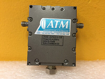 Atm Microwave Af084-10 2 To 4 Ghz 0 To 10 Db Sma F Variable Attenuator. New