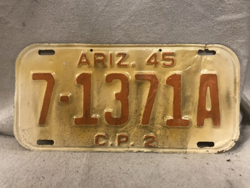 Vintage 1945 Arizona License Plate (Repaint)