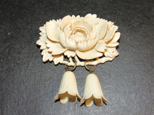 Antique Carved Ivory Colored Celluloid Flower Pin Brooch 2""