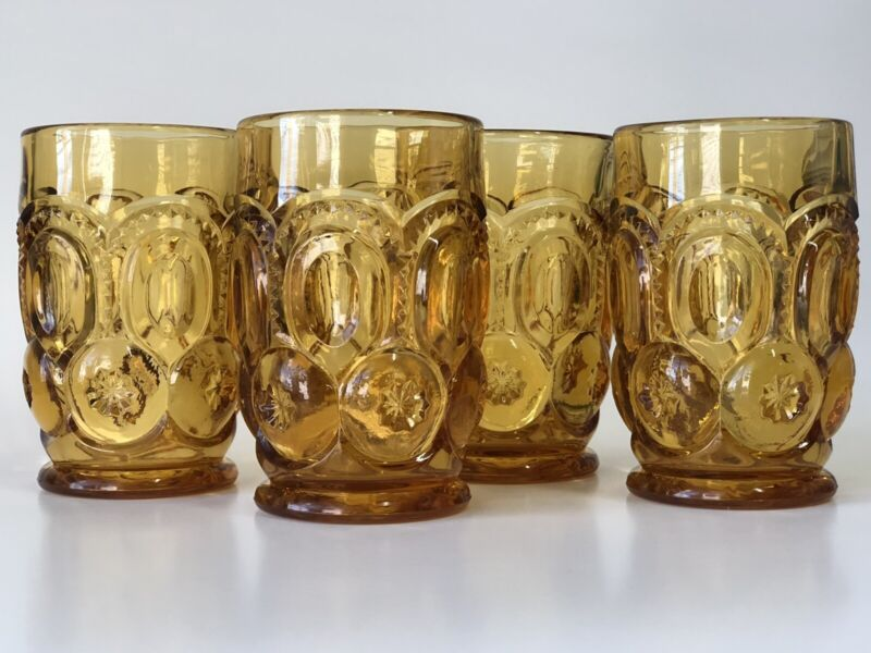 """4 Vintage LE Smith Moon and Star Glass Water Tumbler Yellow Amber Honey 4.5"""""""