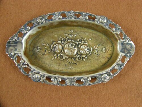 Antique Victorian 800 Sterling Silver Repousse Oval Rose Floral Ashtray