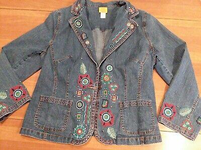 Ruby Rd. Woman Embroidered Stretch Denim Blazer Jacket Size 16W Slimming Cut