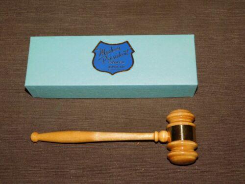 "VINTAGE 8"" LONG MARION-KAY BROWNSTOWN IND MADAM PRESIDENT WOOD GAVEL IN BOX"