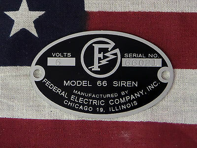 Federal Electric Company 66 66g 66l Replacement Badge 6 Or 12 Volt
